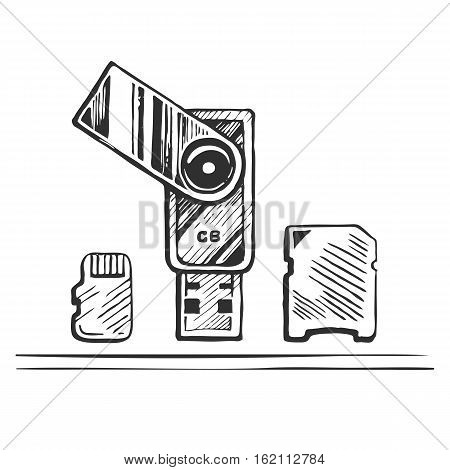 USB stick and memory card hand drawn sketch vector illustration.
