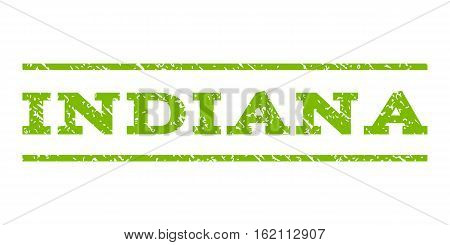 Indiana watermark stamp. Text tag between horizontal parallel lines with grunge design style. Rubber seal stamp with dirty texture. Vector eco green color ink imprint on a white background.