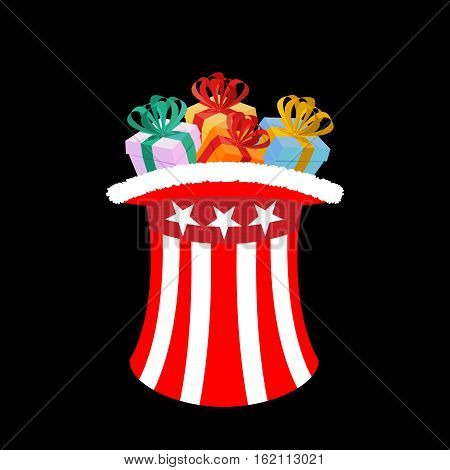 Patriotic Santa Claus Cap With Gifts. Winter Hat Uncle Sam For Gift. Sweets And Toys For Children. C