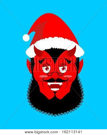 Satan Santa Krampus. Claus Red Demon With Horns. Christmas Monster For Bad Children And Bullies. Fol