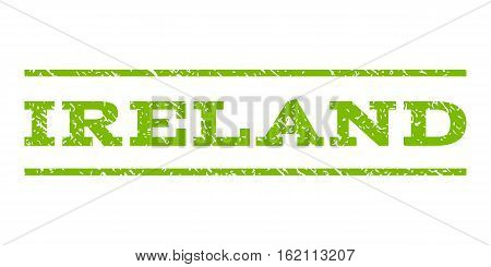 Ireland watermark stamp. Text caption between horizontal parallel lines with grunge design style. Rubber seal stamp with dirty texture. Vector eco green color ink imprint on a white background.