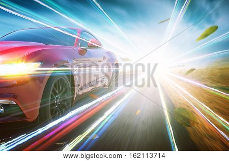 Red race car with light effect running fast on road.