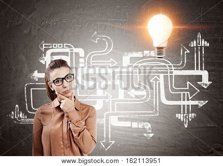Portrait of a serious bespectacled woman standing near a blackboard with tangled arrows sketch and a light bulb
