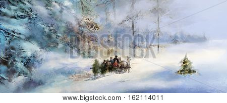 illustrated joyful anticipation of Advent and Christmas horses pulling family on sleigh carrying Christmas tree through deeply snow covered winter forest