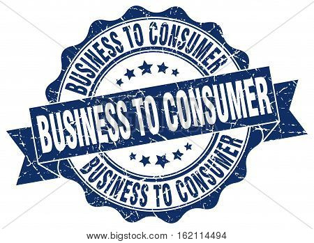 business to consumer. stamp. sign. seal. round. retro. ribbon