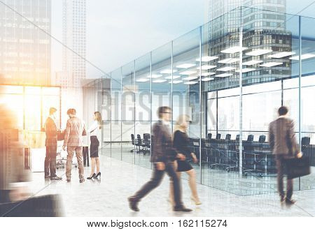 View of men and women in suits walking in a glass office. City view is seen on the foreground. Concept of office life. 3d rendering. Toned image. Double exposure