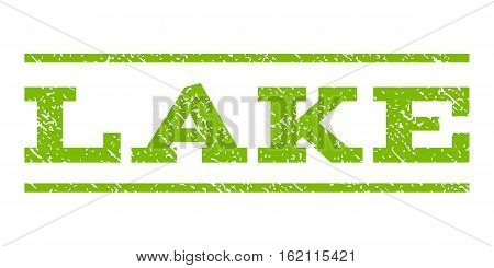 Lake watermark stamp. Text caption between horizontal parallel lines with grunge design style. Rubber seal stamp with scratched texture. Vector eco green color ink imprint on a white background.