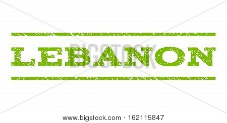 Lebanon watermark stamp. Text caption between horizontal parallel lines with grunge design style. Rubber seal stamp with unclean texture. Vector eco green color ink imprint on a white background.