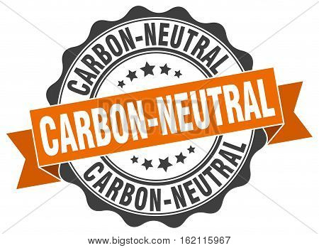 carbon-neutral. stamp. sign. seal. round. retro. ribbon