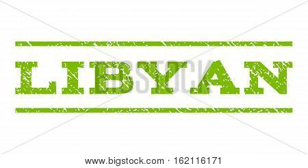 Libyan watermark stamp. Text tag between horizontal parallel lines with grunge design style. Rubber seal stamp with dust texture. Vector eco green color ink imprint on a white background.