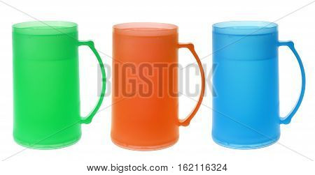 Plastic Tall Mugs on Isolated White Background