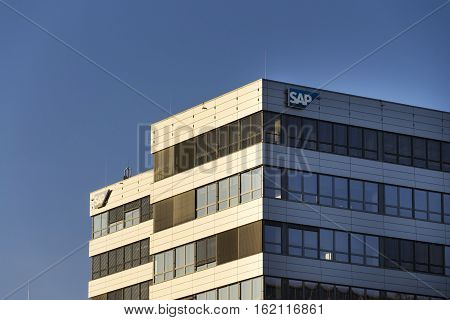 PRAGUE CZECH REPUBLIC - DECEMBER 16: SAP multinational software corporation logo on Czech headquarters building on December 16 2016 in Prague Czech republic.