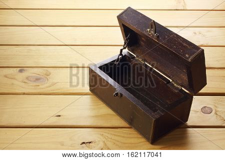 Old Wooden Box on Timber Textured Background