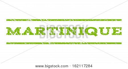 Martinique watermark stamp. Text caption between horizontal parallel lines with grunge design style. Rubber seal stamp with unclean texture. Vector eco green color ink imprint on a white background.