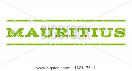 Mauritius watermark stamp. Text tag between horizontal parallel lines with grunge design style. Rubber seal stamp with dirty texture. Vector eco green color ink imprint on a white background.