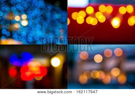 image set of colorful street light blurs