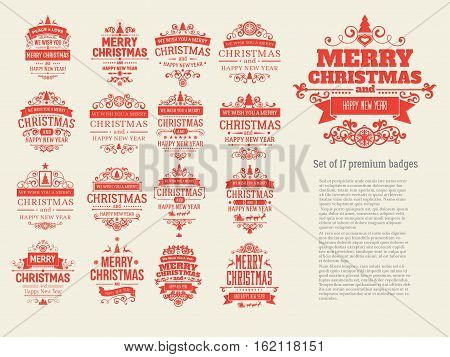 Set of 17 red retro vintage Christmas badges, labels, emblems. Badges and labels with merry Christmas and happy new year greetings. Great for decoration cards, backdrops, book covers
