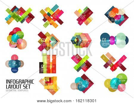 Set of vector buiness infographics templates for workflow layouts, diagrams, number options or web design