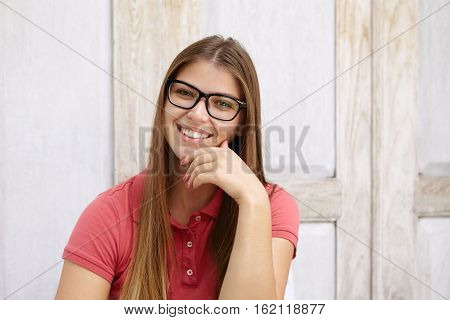Beautiful Young Woman Employee Dressed Casually Having Friendly And Confident Smile, Holding Hand On