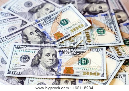 American money dollars background. New onehundred dollars banknotes