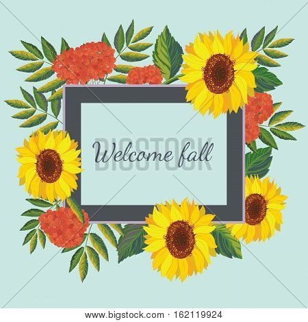 Сard template.Vector frame with autumn sunflowers and rowanberries