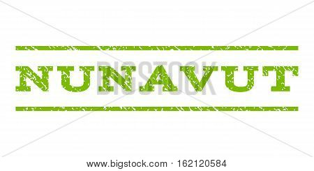 Nunavut watermark stamp. Text tag between horizontal parallel lines with grunge design style. Rubber seal stamp with scratched texture. Vector eco green color ink imprint on a white background.