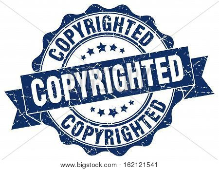 copyrighted. stamp. sign. seal. round. retro. ribbon