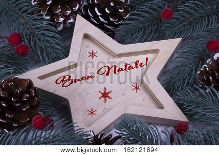 Christmas Greeting Card Buon Natale, Red