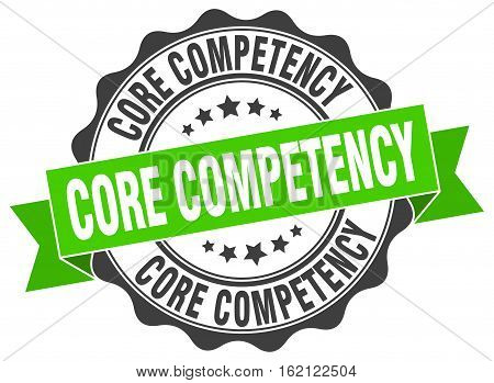 core competency. stamp. sign. seal. round. retro. ribbon