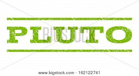 Pluto watermark stamp. Text caption between horizontal parallel lines with grunge design style. Rubber seal stamp with dust texture. Vector eco green color ink imprint on a white background.