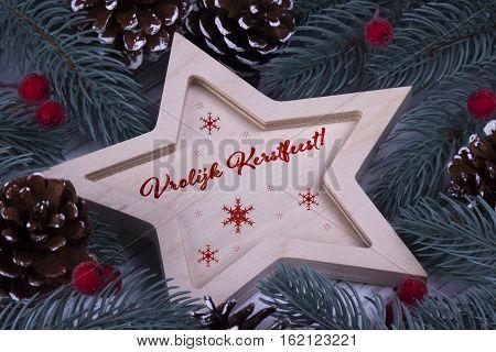 Christmas Greeting Card Vrolijk Kerstfeest. Red