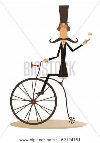 Cartoon man rides a bike. Gentleman with mustache, top hat and umbrella rides a retro bike and smoking a cigar
