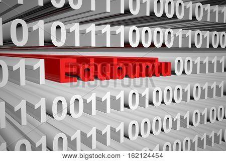 Edubuntu in the form of binary code, 3D illustration