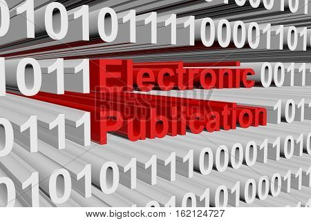 Electronic Publication in the form of binary code, 3D illustration
