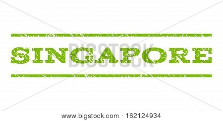 Singapore watermark stamp. Text tag between horizontal parallel lines with grunge design style. Rubber seal stamp with dust texture. Vector eco green color ink imprint on a white background.