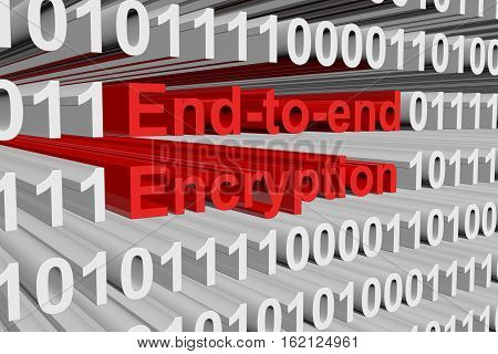 end to end encryption in the form of binary code, 3D illustration