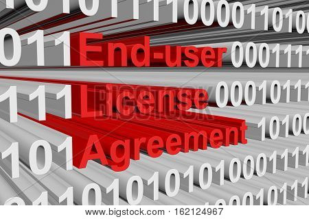 end user license agreement in the form of binary code, 3D illustration
