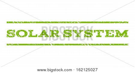 Solar System watermark stamp. Text caption between horizontal parallel lines with grunge design style. Rubber seal stamp with dirty texture. Vector eco green color ink imprint on a white background.