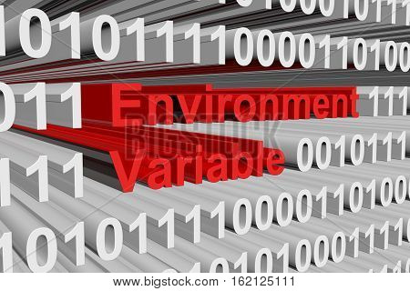 environment variable as a binary code 3D illustration