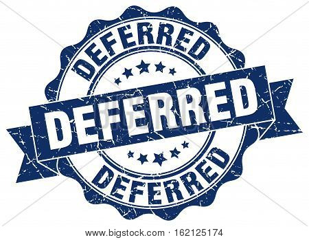 deferred. stamp. sign. seal. round. retro. ribbon