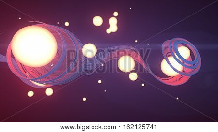 Abstract trail trace effect with lighting balls 3d rendering