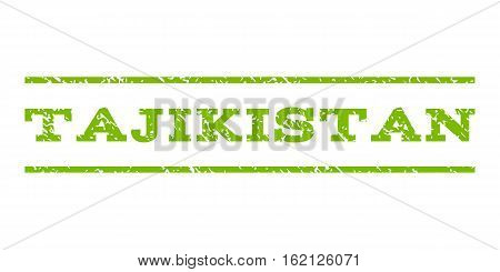 Tajikistan watermark stamp. Text tag between horizontal parallel lines with grunge design style. Rubber seal stamp with unclean texture. Vector eco green color ink imprint on a white background.