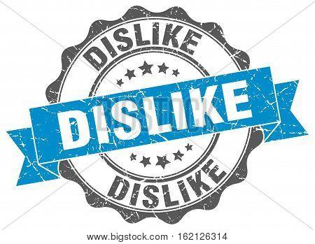 dislike. stamp. sign. seal. round. retro. ribbon