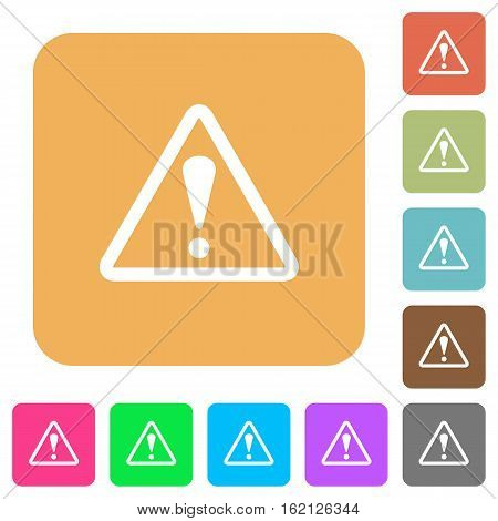 Warning sign icons on rounded square vivid color backgrounds.