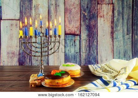 Jewish Symbol Hanukkah With Menorah Traditional