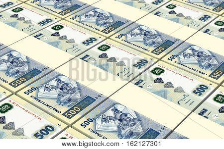 Congolese francs bills stacked background. 3D illustration.