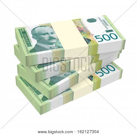 Serbian dinar isolated on white background. 3D illustration