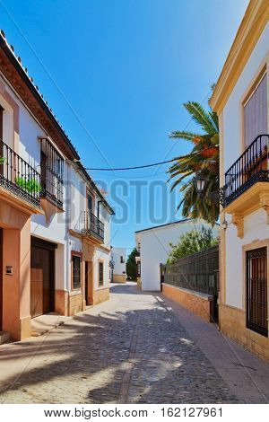 Street in the old town of Ronda, Spain