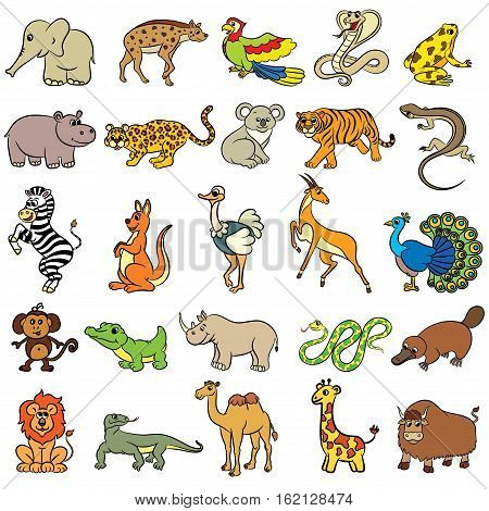 Cute cartoon zoo animals collection. Vector illustration
