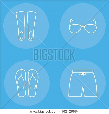 mens beachwear outline icon set contains swim shorts, flippers, sunglasses and slippers